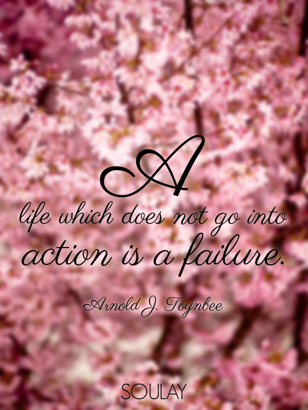 A life which does not go into action is a failure. - Quote Poster