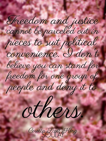 Freedom and justice cannot be parceled out in pieces to suit political convenience. I don't belie... (Poster)