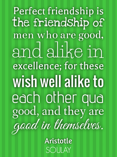 Perfect friendship is the friendship of men who are good, and alike in excellence; for these wish... (Poster)