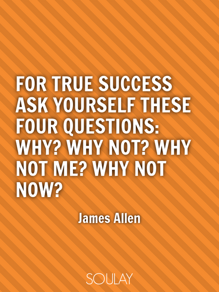 For true success ask yourself these four questions: Why? Why not? Why not me? Why not now? (Poster)