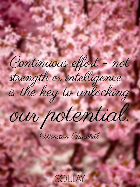 Continuous effort - not strength or intelligence - is the key to unlocking our potential. (Poster)