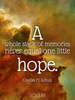 A whole stack of memories never equal one little hope. - Quote Poster