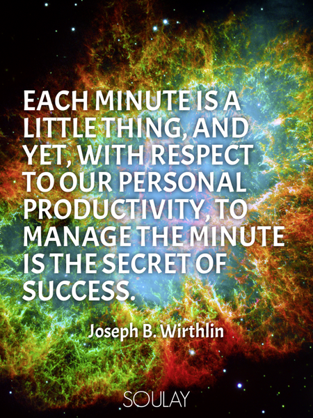 Each minute is a little thing, and yet, with respect to our personal productivity, to manage the ... (Poster)