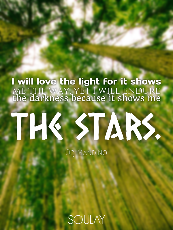 I will love the light for it shows me the way, yet I will endure th... - Quote Poster