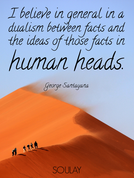 I believe in general in a dualism between facts and the ideas of those facts in human heads. (Poster)