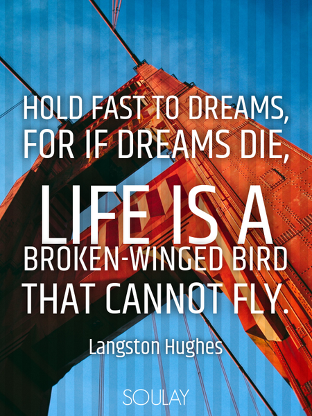 Hold fast to dreams, for if dreams die, life is a broken-winged bird that cannot fly. (Poster)