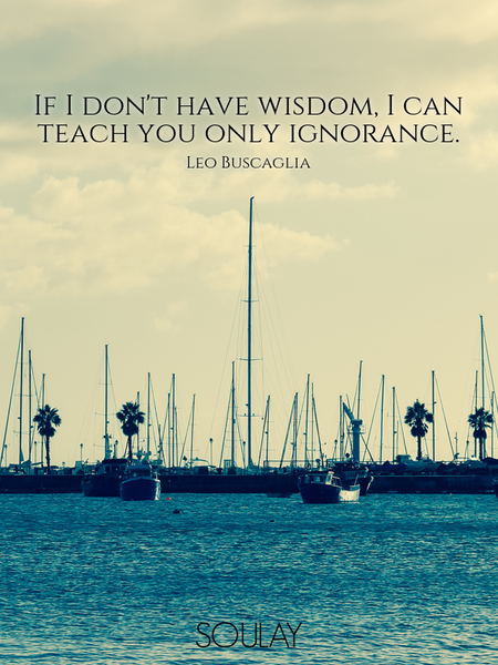 If I don't have wisdom, I can teach you only ignorance. (Poster)
