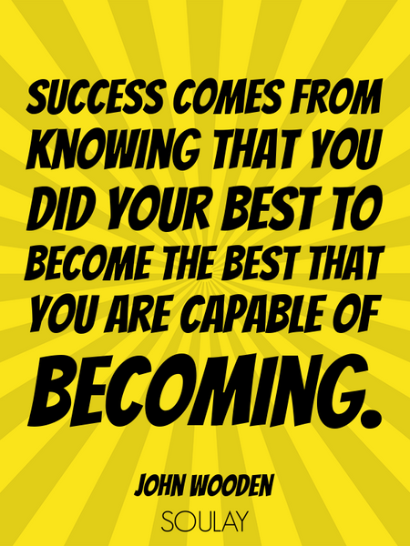 Success comes from knowing that you did your best to become the best that you are capable of beco... (Poster)