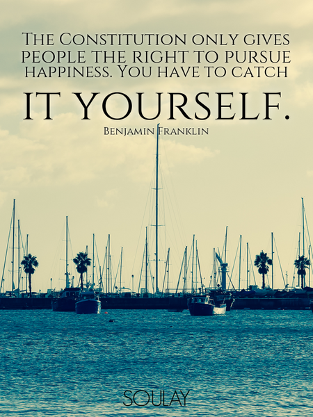 The Constitution only gives people the right to pursue happiness. You have to catch it yourself. (Poster)