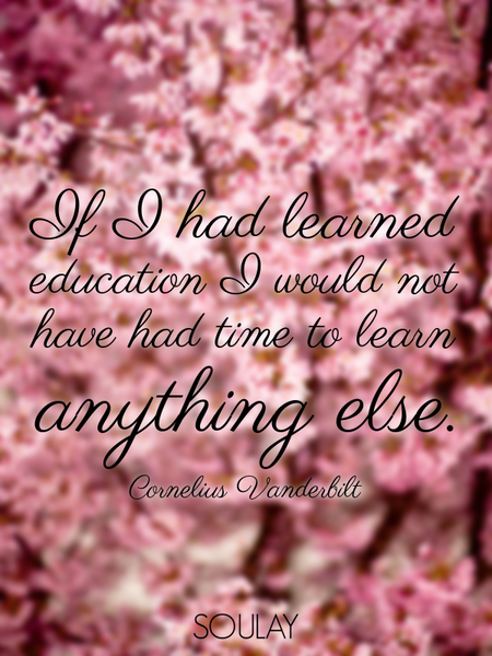 If I had learned education I would not have had time to learn anything else. (Poster)