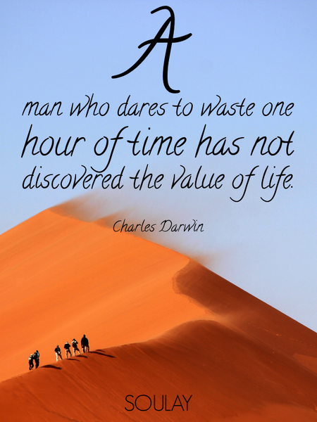 A man who dares to waste one hour of time has not discovered the value of life. (Poster)