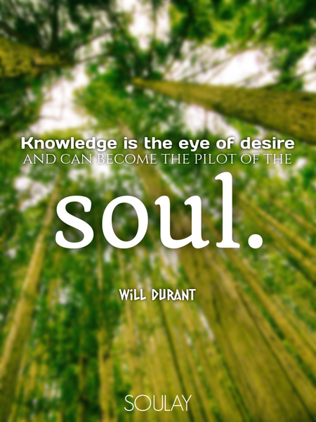 Knowledge is the eye of desire and can become the pilot of the soul. (Poster)