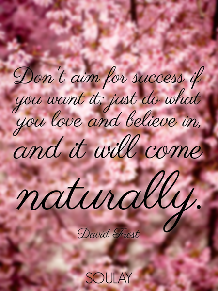 Don't aim for success if you want it; just do what you love and believe in, and it will come natu... (Poster)