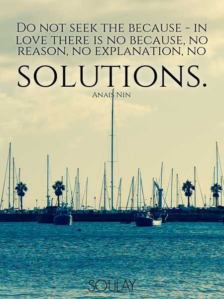 Do not seek the because - in love there is no because, no reason, no explanation, no solutions. (Poster)
