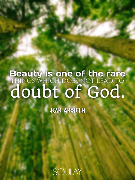Beauty is one of the rare things which does not lead to doubt of God. (Poster)