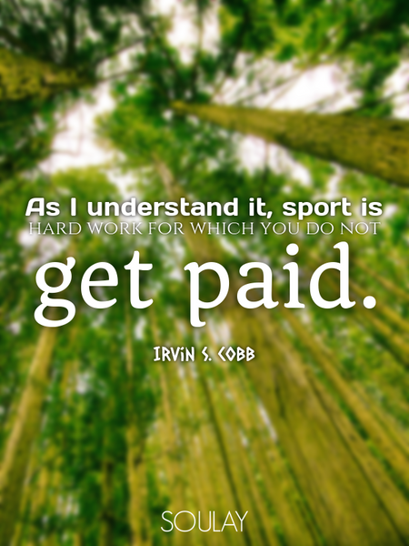 As I understand it, sport is hard work for which you do not get paid. (Poster)