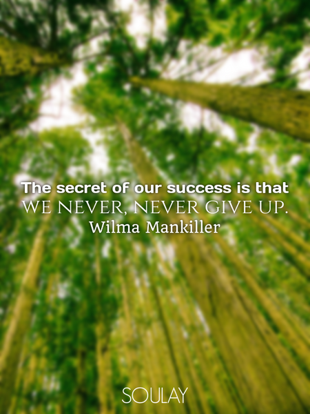 The secret of our success is that we never, never give up. (Poster)