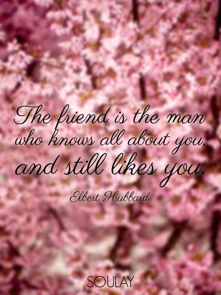 The friend is the man who knows all about you, and still likes you. (Poster)