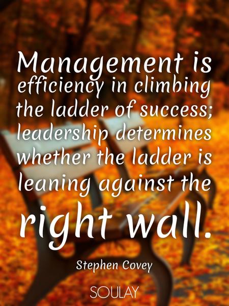Management is efficiency in climbing the ladder of success; leadership determines whether the lad... (Poster)