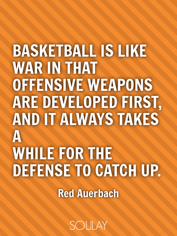Basketball is like war in that offensive weapons are developed firs... - Quote Poster