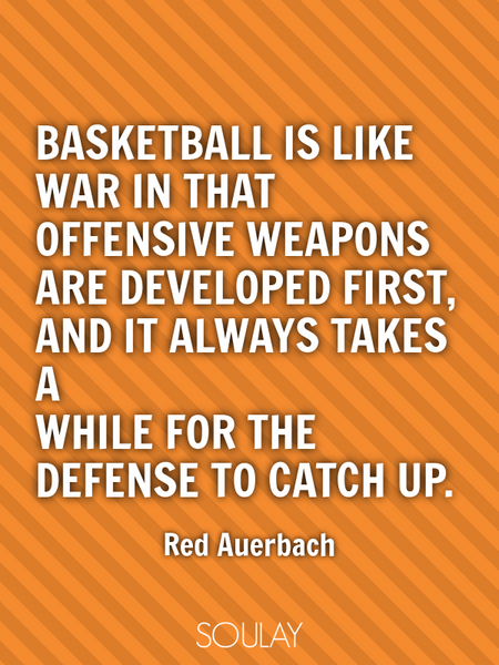 Basketball is like war in that offensive weapons are developed first, and it always takes a while... (Poster)