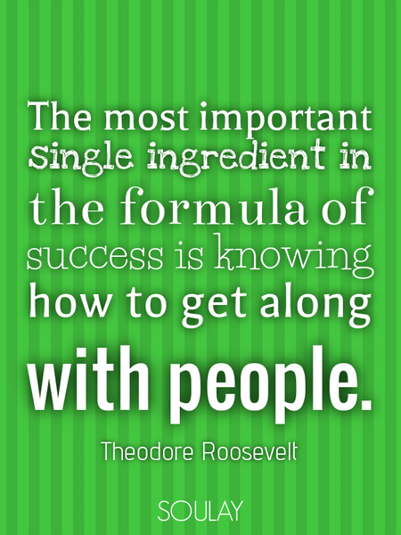 The most important single ingredient in the formula of success is knowing how to get along with p... (Poster)