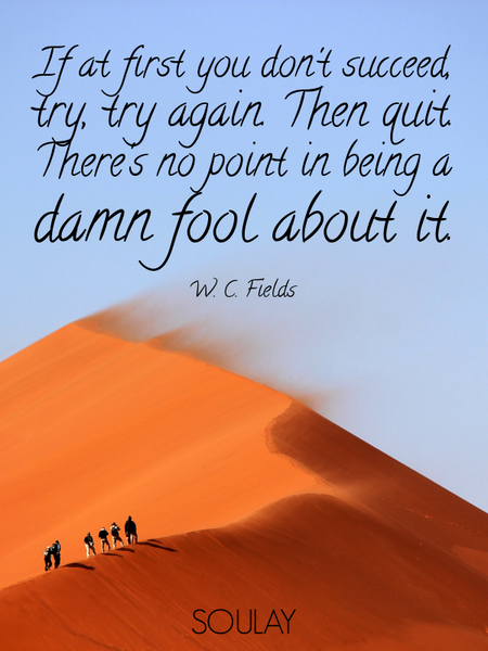If at first you don't succeed, try, try again. Then quit. There's no point in being a damn fool a... (Poster)