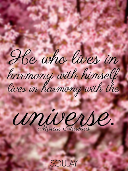 He who lives in harmony with himself lives in harmony with the universe. (Poster)