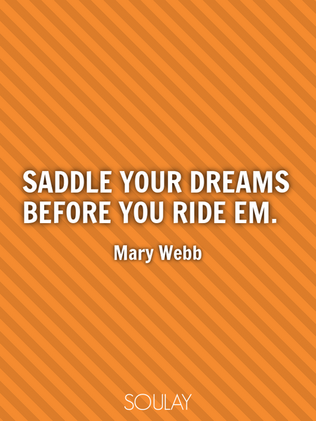 Saddle your dreams before you ride em. (Poster)