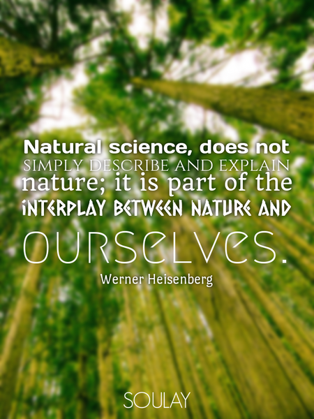 Natural science, does not simply describe and explain nature; it is part of the interplay between... (Poster)