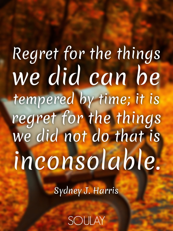 Regret for the things we did can be tempered by time; it is regret ... - Quote Poster