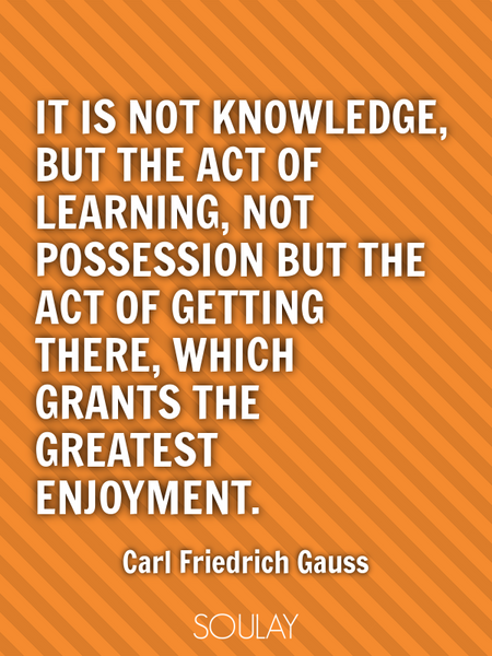 It is not knowledge, but the act of learning, not possession but the act of getting there, which ... (Poster)