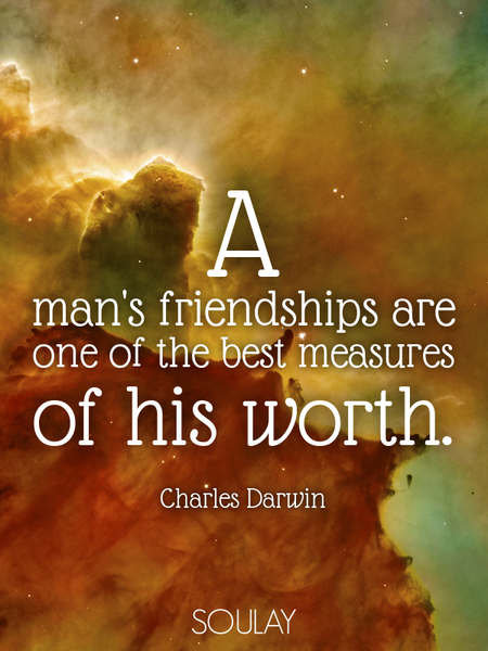 A man's friendships are one of the best measures of his worth. (Poster)