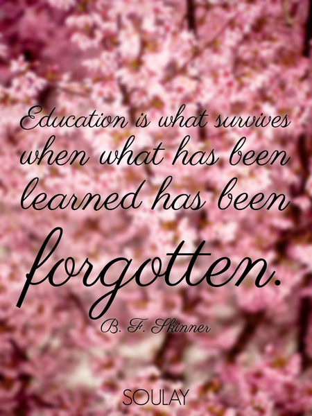Education is what survives when what has been learned has been forgotten. (Poster)