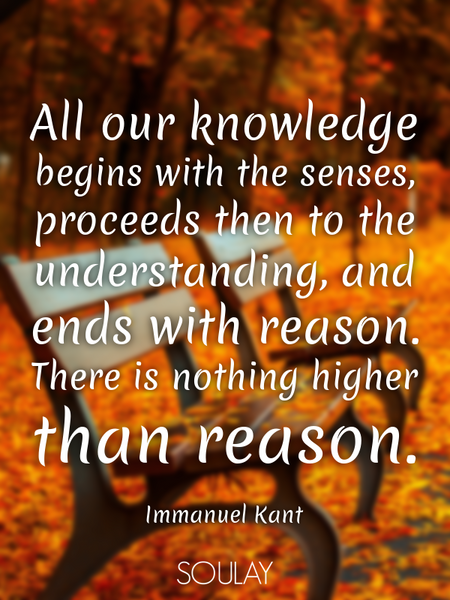 All our knowledge begins with the senses, proceeds then to the understanding, and ends with reaso... (Poster)