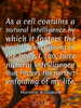 As a cell contains a natural intelligence by which it fosters the h... - Quote Poster