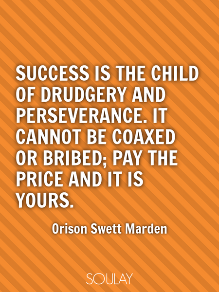 Success is the child of drudgery and perseverance. It cannot be coaxed or bribed; pay the price a... (Poster)