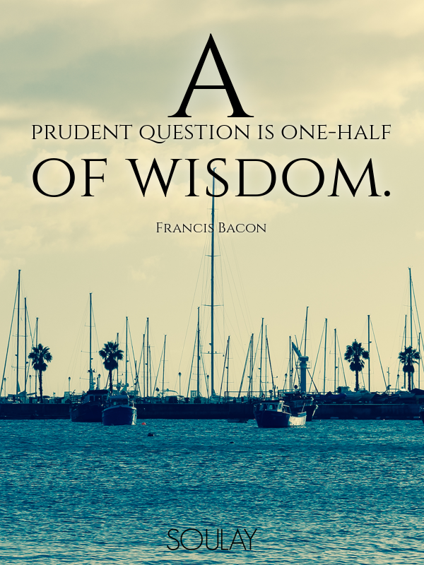 A prudent question is one-half of wisdom. - Quote Poster