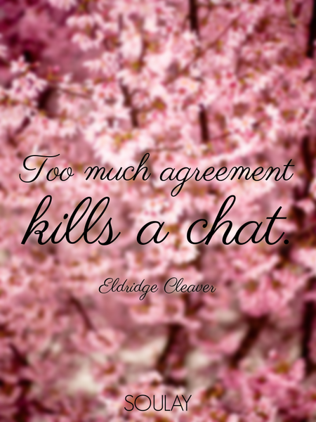 Too much agreement kills a chat. (Poster)