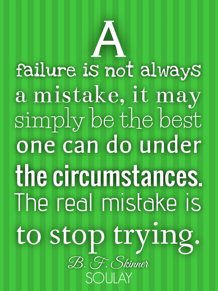 A failure is not always a mistake, it may simply be the best one can do under the circumstances. ... (Poster)