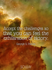 Accept the challenges so that you can feel the exhilaration of vict... - Quote Poster