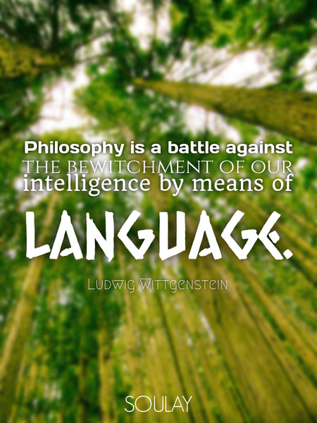 Philosophy is a battle against the bewitchment of our intelligence by means of language. (Poster)