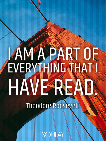 I am a part of everything that I have read. (Poster)