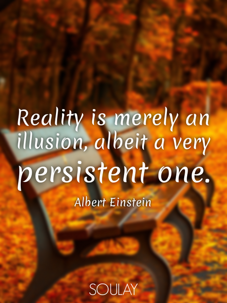 Reality is merely an illusion, albeit a very persistent one. (Poster)