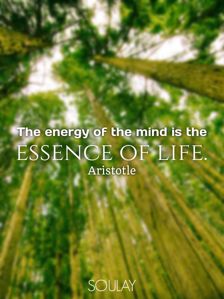The energy of the mind is the essence of life. (Poster)
