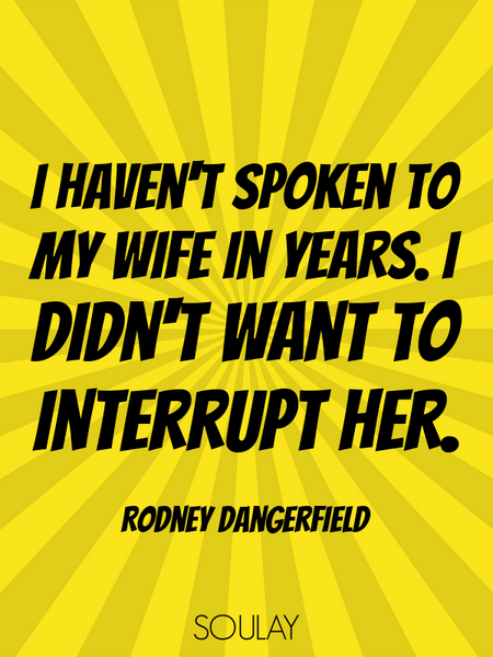 I haven't spoken to my wife in years. I didn't want to interrupt her. (Poster)