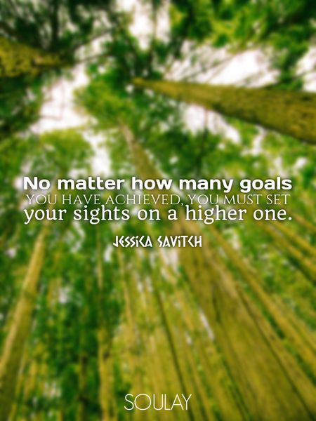 No matter how many goals you have achieved, you must set your sights on a higher one. (Poster)
