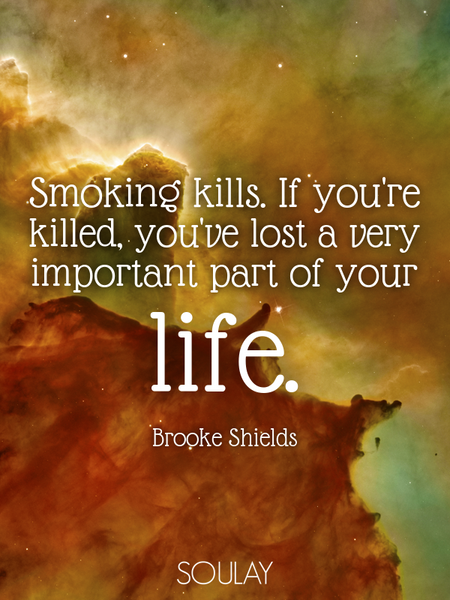 Smoking kills. If you're killed, you've lost a very important part of your life. (Poster)