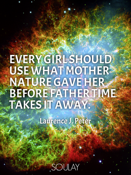 Every girl should use what Mother Nature gave her before Father Time takes it away. (Poster)