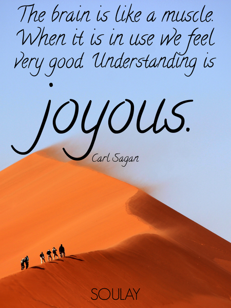 The brain is like a muscle. When it is in use we feel very good. Understanding is joyous. (Poster)